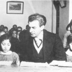 Shah Mohammad Reza Pahlavi visits a co-educational school, 1955